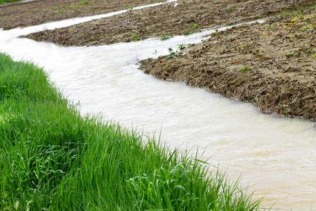 water pollution: Flooded fields Stock Photo