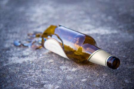 Shattered brown beer bottle photo