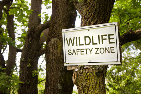 Sign indicating in the countryside - wildlife safety zone