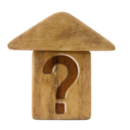 Little house with question mark - concept image photo