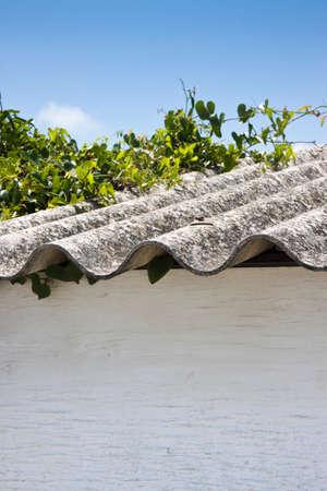 Dangerous asbestos roof Banco de Imagens