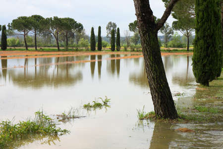 non cultivated: Flooded fields after torrential rain