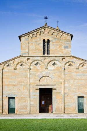 pilasters: Italy - Tuscany - Medieval church of Vicopisano (Pisa) called Santa Maria Church.