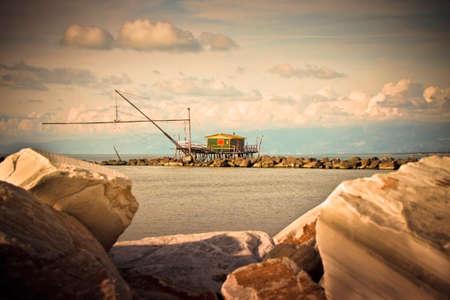 toned image: Trabucco, typical italian fishing machine (Tuscany - Italy) - toned image Stock Photo