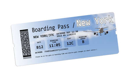Airline tickets to New York boarding pass isolated on white - The contents of the image are totally invented.