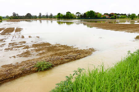 torrential: Flooded fields after torrential rain