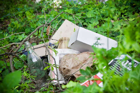 bad manners: Illegal dumping: education and rudeness concept