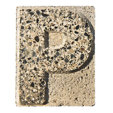 "concrete block: Letter P carved in a concrete block - A concrete block with the letter  ""P "" carved into it. Stock Photo"
