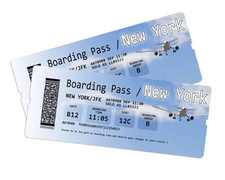 invented: Airline boarding pass tickets to New York isolated on white - The contents of the image are totally invented.