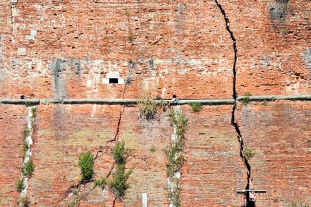 foundation cracks: Cracked brick wall - Deep crack in a brick wall Stock Photo
