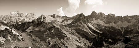 onderful view of the Dolomites in sepia toned - Trentino Alto Adige (Italy)