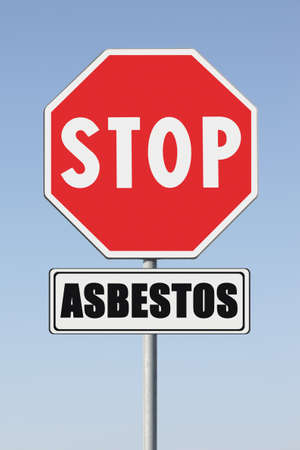 Stop asbestos concept. Stop Asbeston written on signpost
