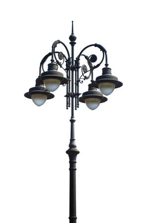 the 19th century: Streetlight of the 19th century in the middle of an Italian square Stock Photo