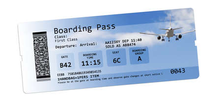 no pase: Billetes de avión tarjeta de embarque aislados en blanco