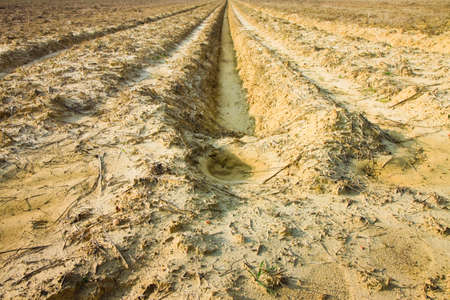rainwater: Ditch of rainwater collection in a plowed field Stock Photo