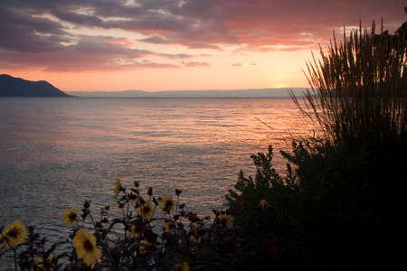 montreux: View of Geneva Lake at sunset - ( Montreux, Switzerland)
