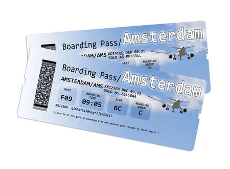 invented: Airline boarding pass tickets to Amstersam isolated on white - The contents of the image are totally invented