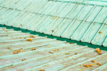 Detail of an old copper roof of the 18th century (Austria - Europe)