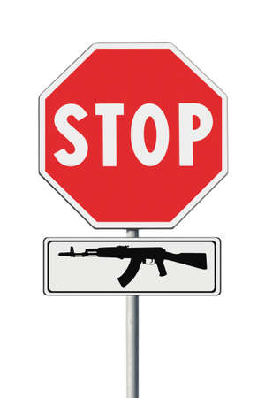 armaments: Stop weapons concept image on road sign on white background