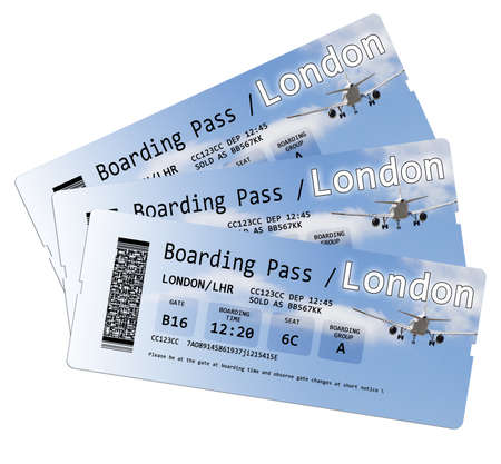 boarding: Airline boarding pass tickets to London isolated on white.