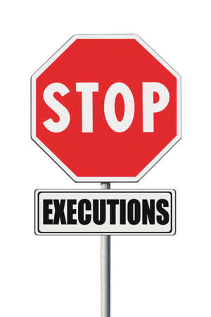 clemency: Stop death penalty written on road sign - concept image on white background