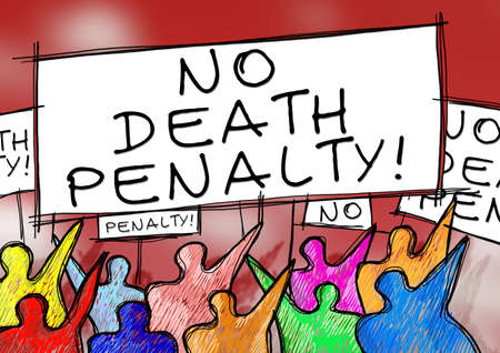 A group of people protesting against executions - concept image Фото со стока