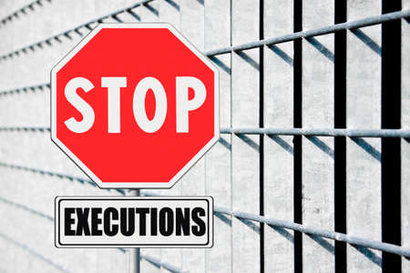 Stop death penalty written on road sign - concept image Archivio Fotografico