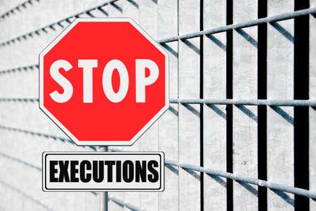 muerte: Imagen del concepto - Stop pena de muerte por escrito en señal de tráfico
