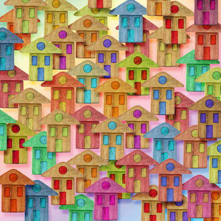 global village: Global Village conceptual image with many colorful houses
