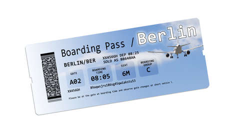 ber: Airline boarding pass tickets to Berlin isolated on white - The contents of the image are totally invented