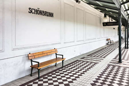 subway station: Bench in a subway station platform of Schonbrunn - Wien - Austria