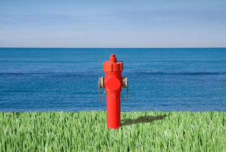 contradiction: Fire hydrant by the sea - plenty of water concept image