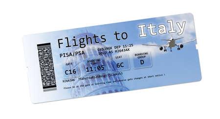 """no pase: Billetes de avi�n tarjeta de embarque para """"Italia"""" aislados en blanco. El contenido de la imagen est�n totalmente inventados. La imagen de fondo, con el cielo, el avi�n y la torre inclinada son im�genes en mi propiedad."""