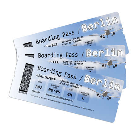 boarding: Airline boarding pass tickets to Berlin isolated on white - The contents of the image are totally invented