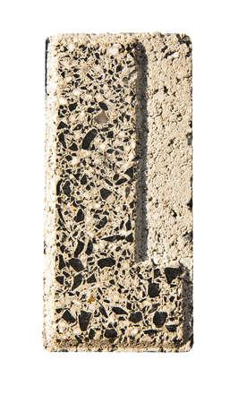 concrete block: Letter L carved in a concrete block - A concrete block with the letter L carved into it.