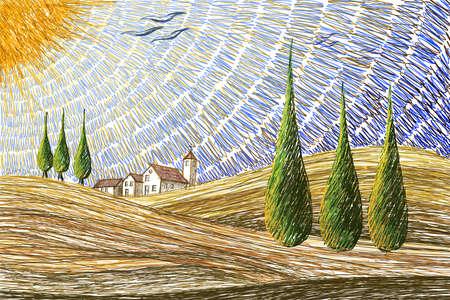 Tuscany landscape - digital painting concept