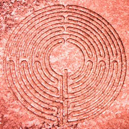 middleages: Labyrinth carved on stone - concept image