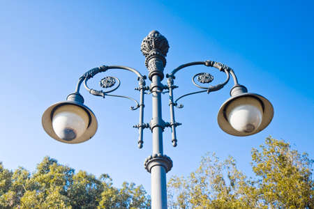 19th century: Streetlight of the 19th century in the middle of an Italian square Stock Photo