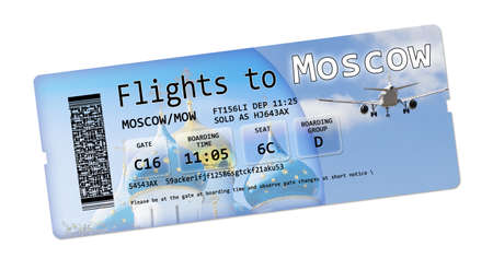no pase: Airline boarding pass tickets to Moscow isolated on white. The contents of the image are totally invented.  The background image, with the sky, the airplane, the Russian church, are pictures of my property. In background the monastery of Sergev Posad (S