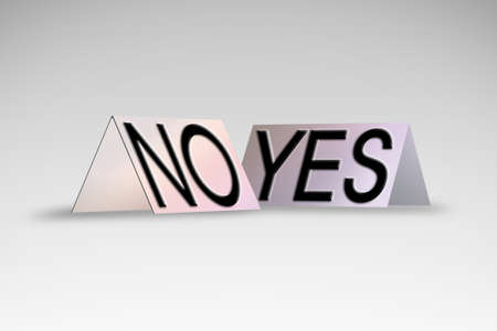 unfavorable: Yes and No written on colored cardboard - concept image Stock Photo