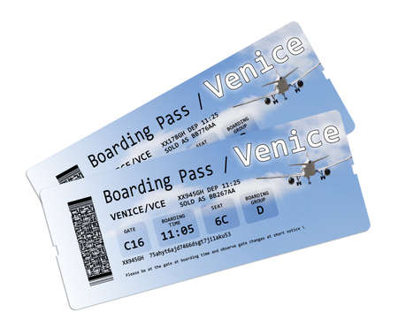 invented: Airline boarding pass tickets to Venice isolated on white. The contents of the image are totally invented