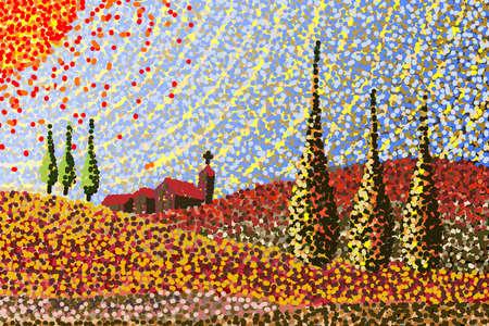 Main dessin fait qui est inspiré par la Toscane paysages (Italie) Dessin numérique inspiré par les paysages Toscane (Italie) (Dessin est composée d'environ 17.000 points de couleur