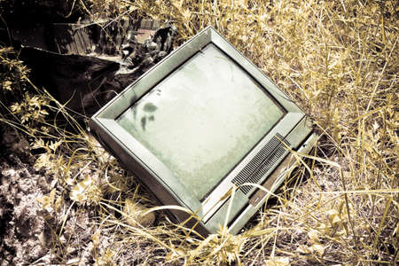 crt: Old television CRT abandoned in a illegal dump - toned image - toned image