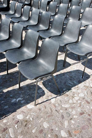 toned: Chairs of an outdoor cinema - toned image Stock Photo