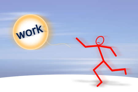 flee: Losing a job: the work fly away! - concept image Stock Photo