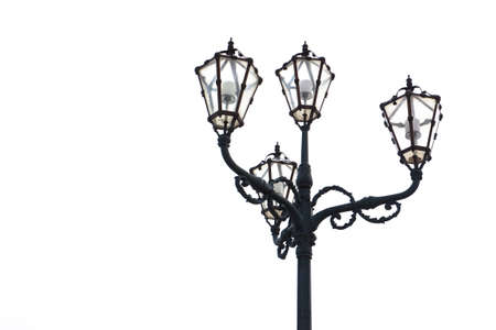 nineteenth: Streetlight of nineteenth century on white background with copy space
