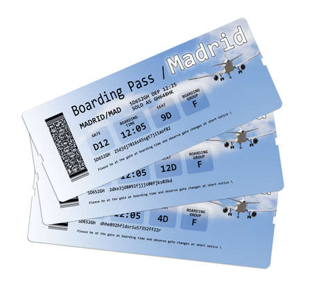 no pase: Airline boarding pass tickets to Madrid isolated on white.  The contents of the image are totally invented