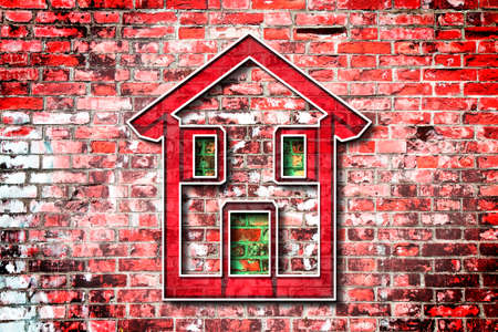 comp: Colored house drawn on a brick wall background