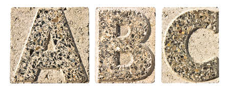 c design: Letter A-B-C carved in a concrete block - A concrete block with the letter A-B-C carved into it.