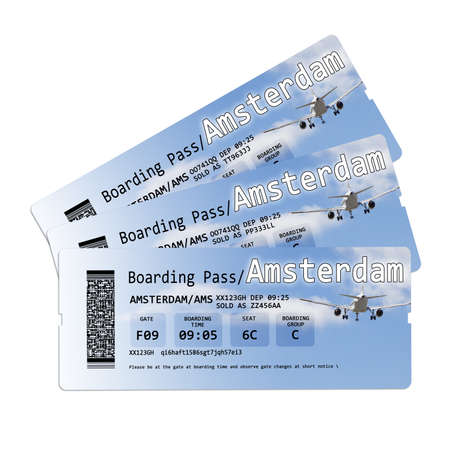 invented: Airline boarding pass tickets to Amstersam isolated on white - The contents of the image are totally invented.